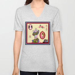 An Antique Shop Wall of Romantic Items and Succulents Unisex V-Neck