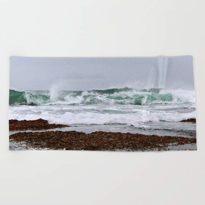 Green Waves Crashing into White Foam Beach Towel