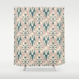 Retro Mid Century Modern Atomic Triangles 726 Beige and Teal Green Shower Curtain