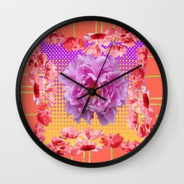 CORAL PINK-PURPLE PEONY  FLORAL MODERN Wall Clock