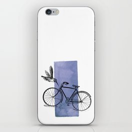 Humming Bird and Bicycle on Purple Watercolor Wash iPhone Skin