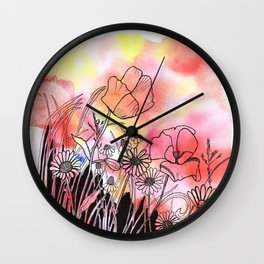 wildflowers in watercolor and ink Wall Clock