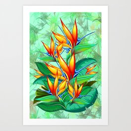 Bird of Paradise Flower Exotic Nature Art Print