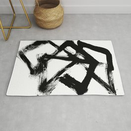 Brushstroke 5 - a simple black and white ink design Rug