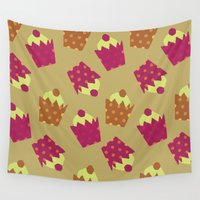 cake Wall Tapestries featuring Cake pattern by Ingrid Castile