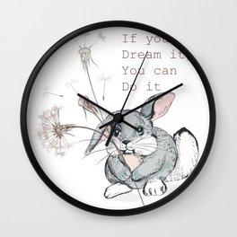 Cute vector hand drawn rabbit holding dandelion, dreaming concept  Wall Clock