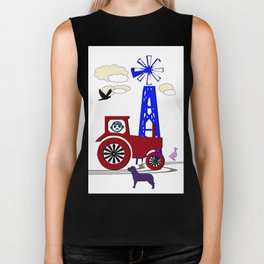 Tractor picture with dog - children's room Biker Tank
