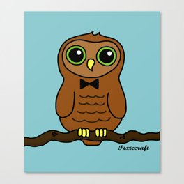 Original Digital Cute Owl Illustration Canvas Print