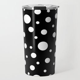 White on Black Polka Dot Pattern Travel Mug