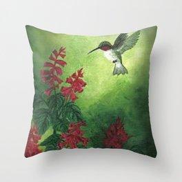 Hummingbird and Red Salvia Throw Pillow