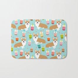 corgi boba tea bubble tea cute kawaii dog breed fabric welsh corgis dog gifts Bath Mat