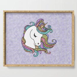 Violet Faux Glitter Unicorn Serving Tray