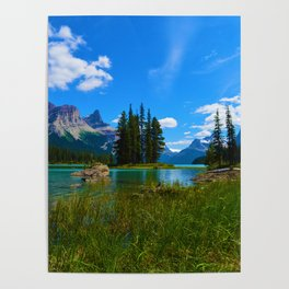 Spirit Island on Maligne Lake, Jasper National Park Poster