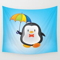 umbrella Wall Tapestries featuring umbrella penguin by mangulica illustrations
