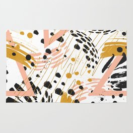 Strokes of abstract geometric shapes Rug