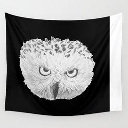 Snowy Owl Black Wall Tapestry