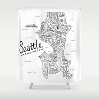 seattle Shower Curtains featuring Seattle Map by Claire Lordon