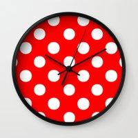 polka dots Wall Clocks featuring Polka Dots (White/Red) by 10813 Apparel