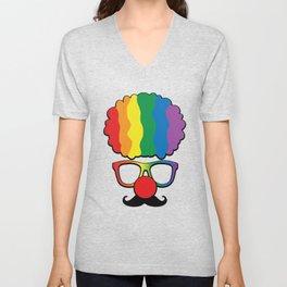 Clown Gift Glasses Rainbow Hair Halloween Party Gift Unisex V-Neck