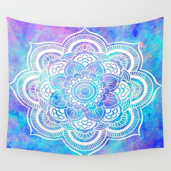 Pink Wall Tapestry mandala pink lavender aqua galaxy space wall tapestry