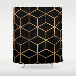 Black and Gold - Geometric Cube Design Shower Curtain