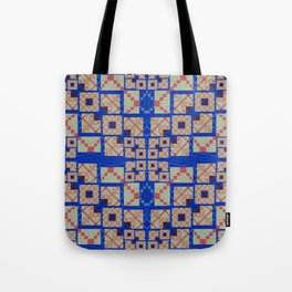 Retro Futuristic Modern Blue and Red Patchwork Geometry Tote Bag