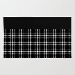 Dotted Grid Boarder Black Rug
