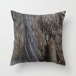 Tribal Hunting Hut Throw Pillow