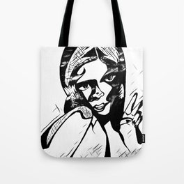 Peace in Grey Scale Tote Bag