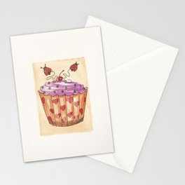 Cupcake & Lady Bugs Water Color Print Stationery Cards