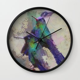 Abstract Colorful Wild Bird Colibri painting  Wall Clock