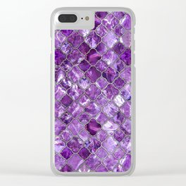 Quatrefoil Moroccan Pattern Amethyst and silver Clear iPhone Case