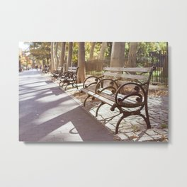 New York City Park Bench Moments Metal Print