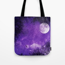 Nightsky with Full Moon in Ultra Violet Tote Bag