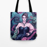 ursula Tote Bags featuring Ursula by Angela Rizza