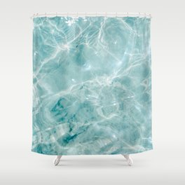 Clear blue water | Colorful ocean photography print | Turquoise sea Shower Curtain