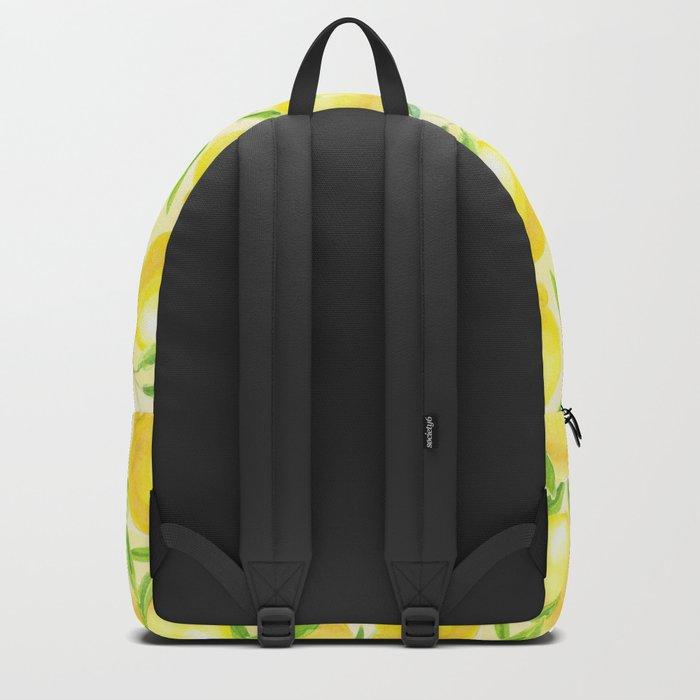 Lemons with leaves watercolor pattern Backpack