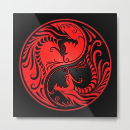 Yin Yang Dragons Red and Black Metal Print