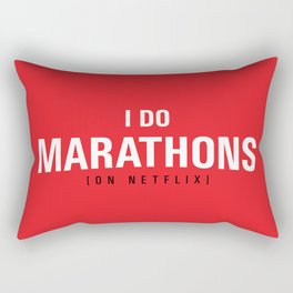 I DO MARATHONS (Binge Watch) Red Rectangular Pillow