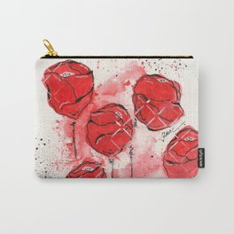 Crimson and Cream Splotch Floral Carry-All Pouch