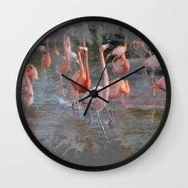 Flamingos in the pond. Wall Clock