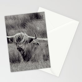 Highland cow in black and white, in Scotland - Fine Arts Nature Photography Stationery Cards