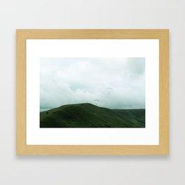 Paragliders in the Peak District Framed Art Print
