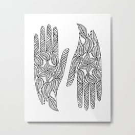 Radiating Hands (black) Metal Print