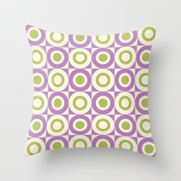 Mid Century Square and Circle Pattern 541 Lavender and Chartreuse Throw Pillow