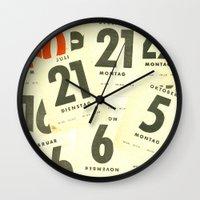 calendar Wall Clocks featuring CLOSEUPS - Calendar Sheets by Cordula Kerlikowski