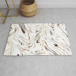 Liquid Gold Silver Black Marble #1 #decor #art #society6 Rug