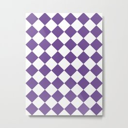 Large Diamonds - White and Dark Lavender Violet Metal Print