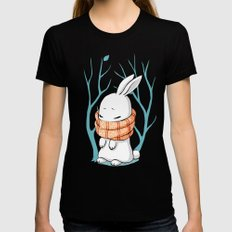 Winter Bunny Womens Fitted Tee Black MEDIUM