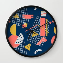 Teal Green Memphis Toss - Limited Color Palette 2019 Wall Clock